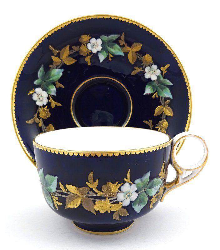 Royal Crown Derby Cobalt Enameled Tea Cup & Saucer