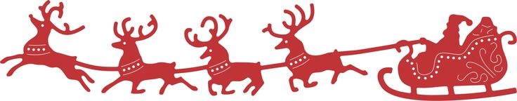 "#cheeryld Santa's Sleigh and Reindeer - B326 $11.95 Die Size: 2 1/2"" x 8"" (64mm x 203mm) Santa and his reindeer make their holiday dash across the sky. Pair this die with B323- Winter Neighborhood Border for a fabulous, easy to make Christmas card! http://www.cheerylynndesigns.com/santas-sleigh-and-reindeer-b326/"