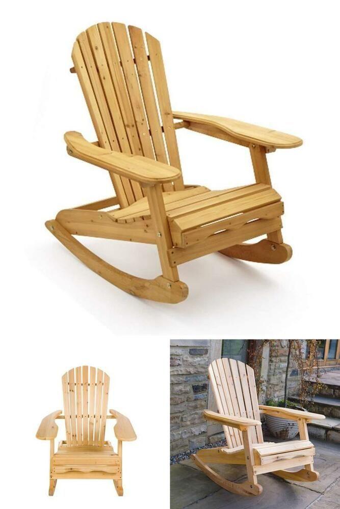 Garden Rocking Chair Solid Wood Adirondack Armchair Patio Lounger Rocker Natural Gardenoutdoorscollecti Garden Rocking Chair Rocking Chair Rocking Chair Plans