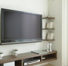 how to hide wires from wall mounted tv  Tv, wall mounted console with a chair on left