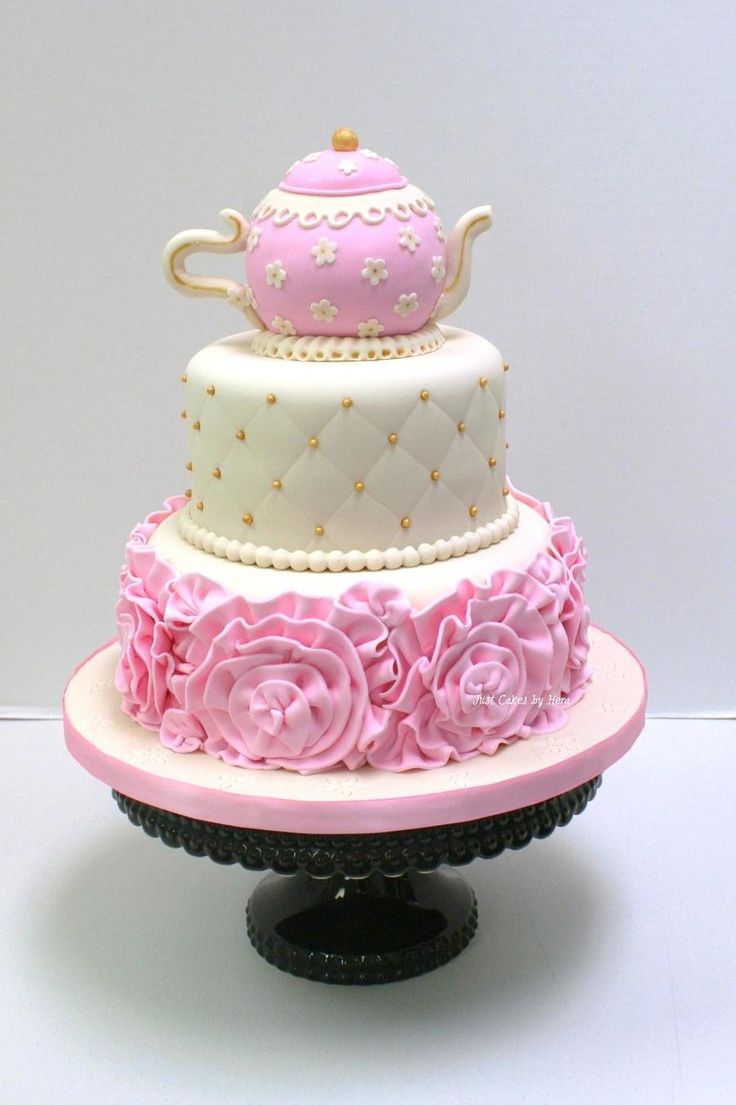 Tea Party Cake Tea Party Cake Tea Party cake #featured-cakes #mothers-day #tea-cup #teapot #tea #teacup #cakecentral