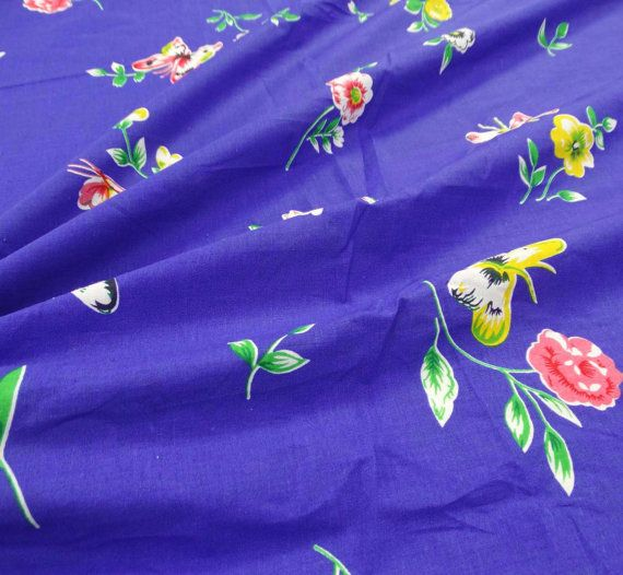 Blue Floral Fabric Dressmaking Material Fabric Craft Supplies