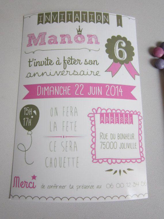 Invitations anniversaire fille X8 par LovelyStuff4kids sur Etsy Birthday invitation