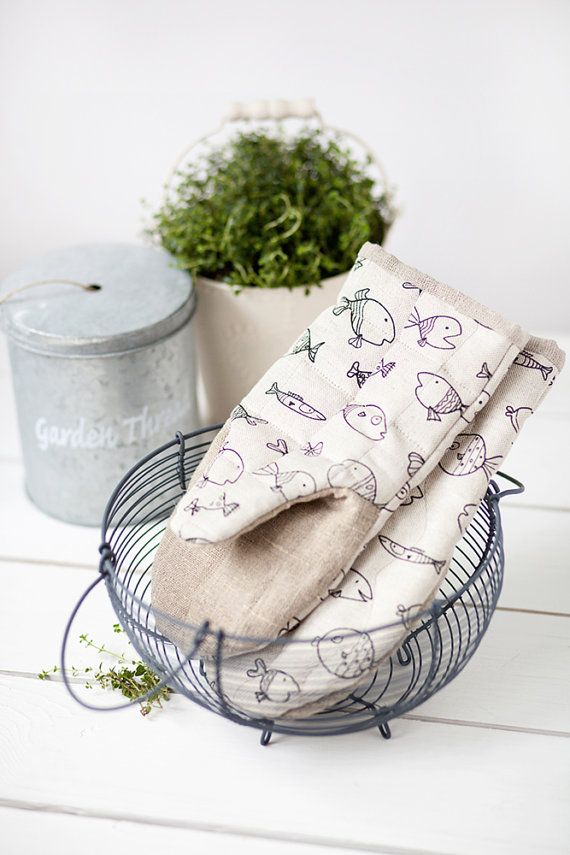 Oven gloves with fishes  Linen oven mitts  cooking mittens