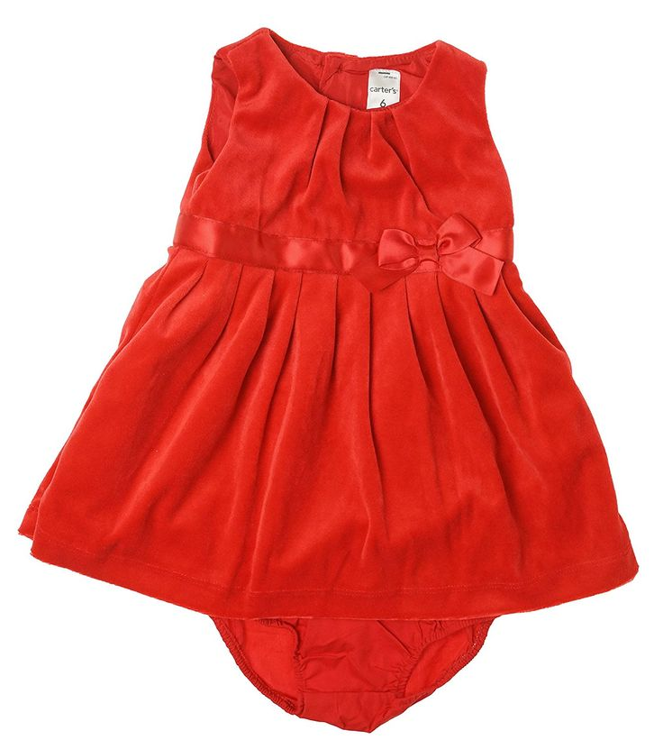 Carter's Baby Girls' Velour Dress w/ Diaper Cover (Baby) - Red *** Review more details here : Baby clothes
