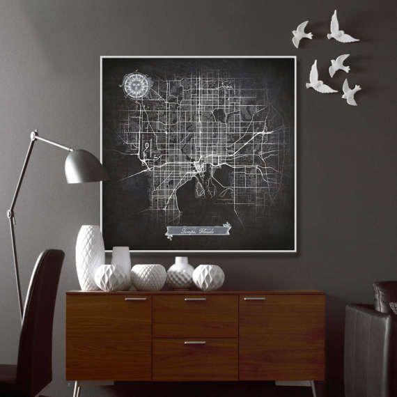 Tampa Florida Chalkboard Map Art Black And White Fl Vintage City Graphic Detailed Scheme Street Wall Decor