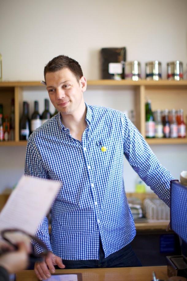 Matt wearing the ubiquitous blue check shirt
