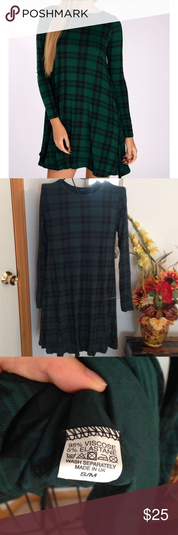 NWOT Green Tartan Shift Dress This green plaid dress has a loose fit and made in the UK. It is similar to the green tartan dress that Geordie Shore Vicky Pattison wears. From a smoke free home. New without tags Dresses Midi