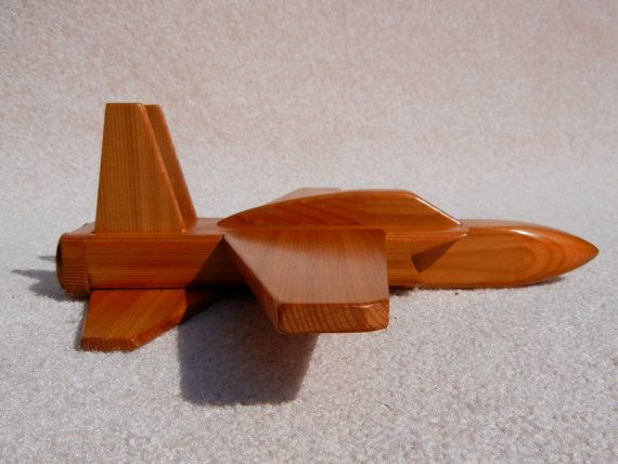 Wooden Jet Airplane Toy  Cedar Wood
