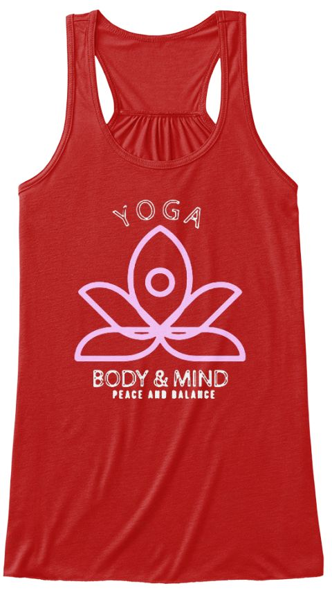 Yoga,Body &Amp; Mind Peace And Balance. Red Tank Top Nữ Front