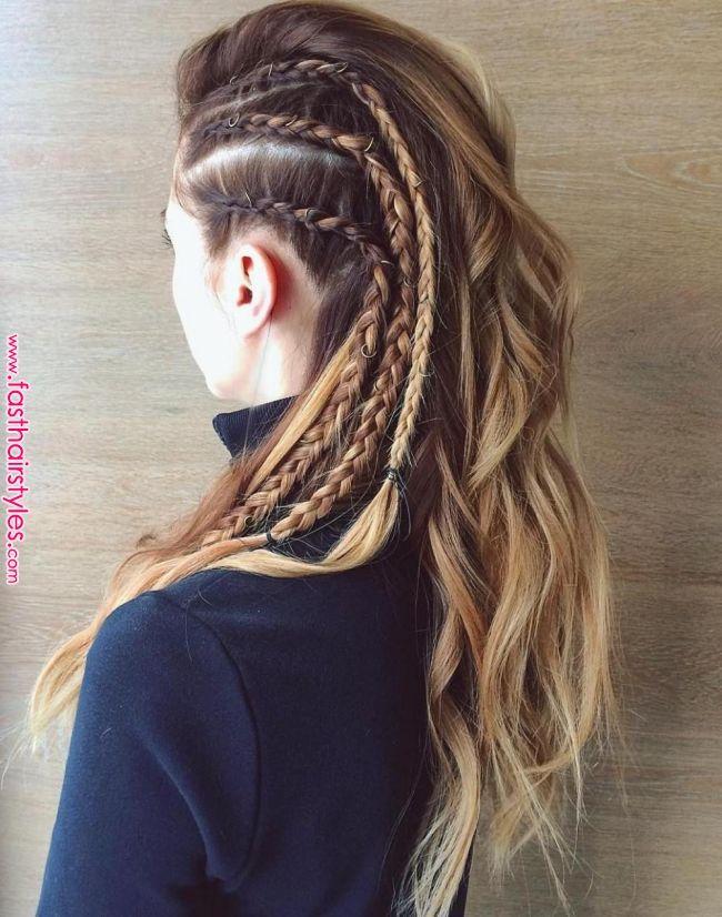 Make-up & Hair Concepts: vikings-lagertha-coiffure-avec-tresses-sur-le-côté-effet-rasé-cheveux-blonds-…