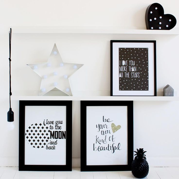 Don't these shelves look great! Loving this combo together: I love you more than all the stars, Swiss cross moon and back and be your own kind of beautiful- shop the look www.toucanonline.com x