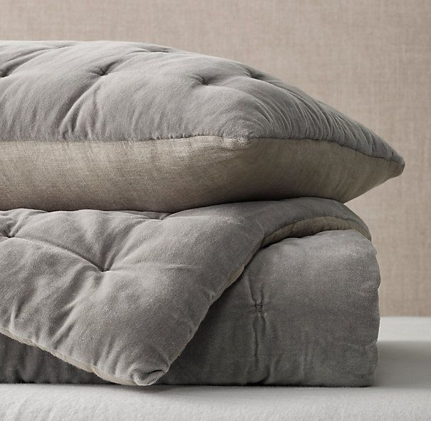 Velvet & Linen Tufted Quilt & Sham $79 - $449   Special $45 - $399    Our tufted bedding adds a layer of plush texture. Pure cotton velvet, tuck-embroidered in a subtle grid pattern, reverses to smooth linen that is stonewashed for softness.