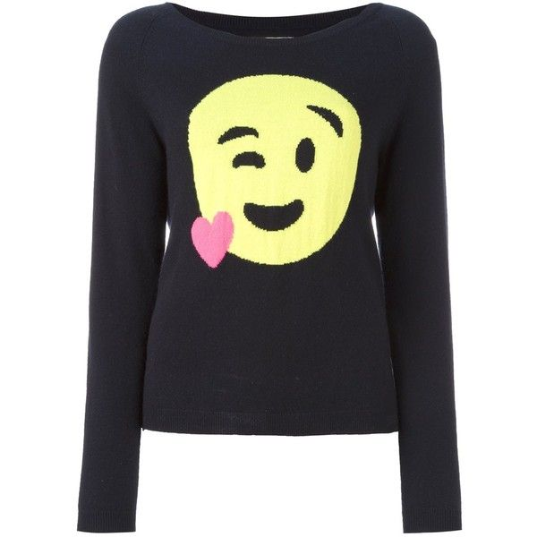Chinti And Parker heart emoji sweater (1.510 BRL) ❤ liked on Polyvore featuring tops, sweaters, blue, heart tops, blue cashmere sweater, chinti and parker sweater, blue top and blue sweater