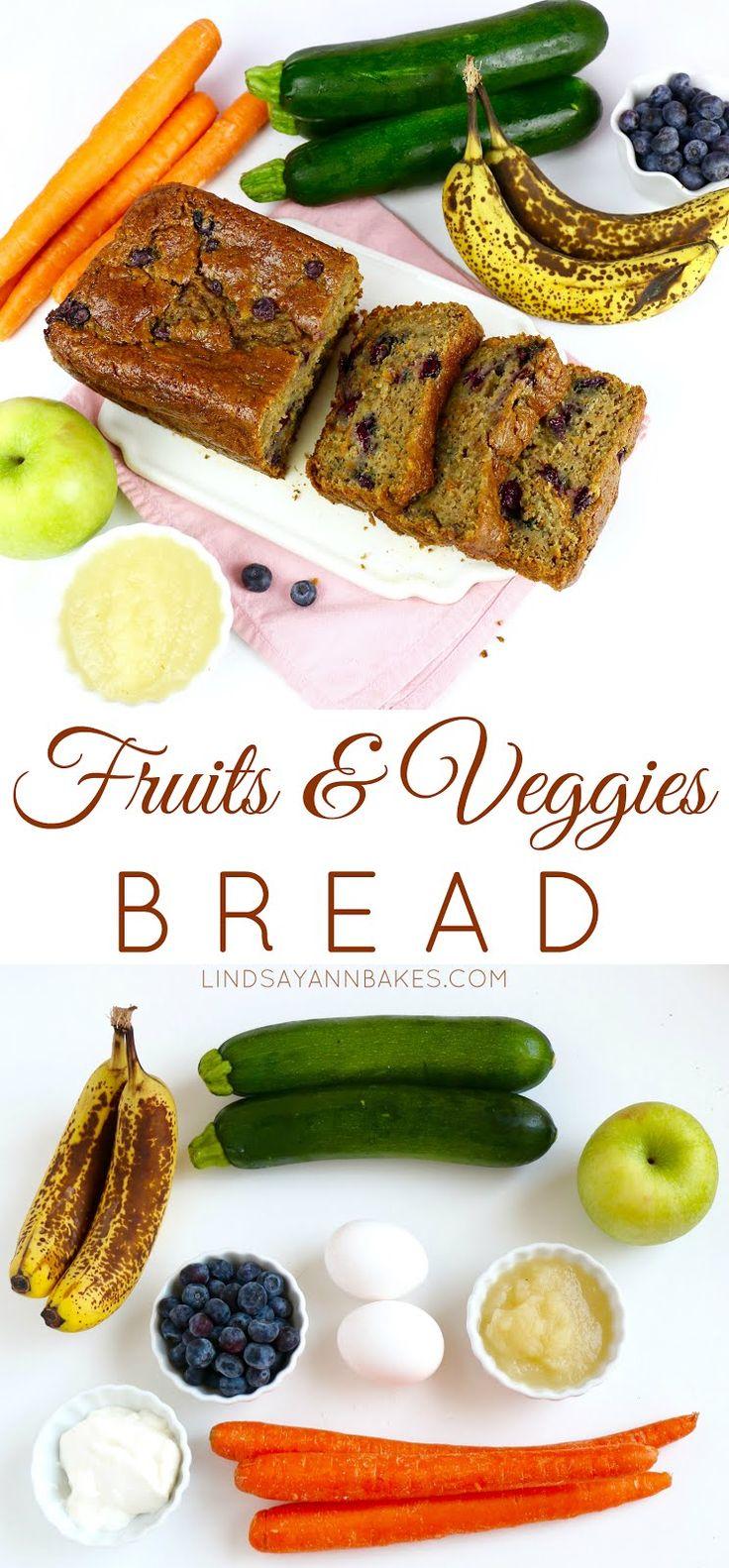 Lindsay Ann Bakes: Fruits & Veggies Bread (packed with banana, zucchini, carrot, apple, blueberry and greek yogurt!)
