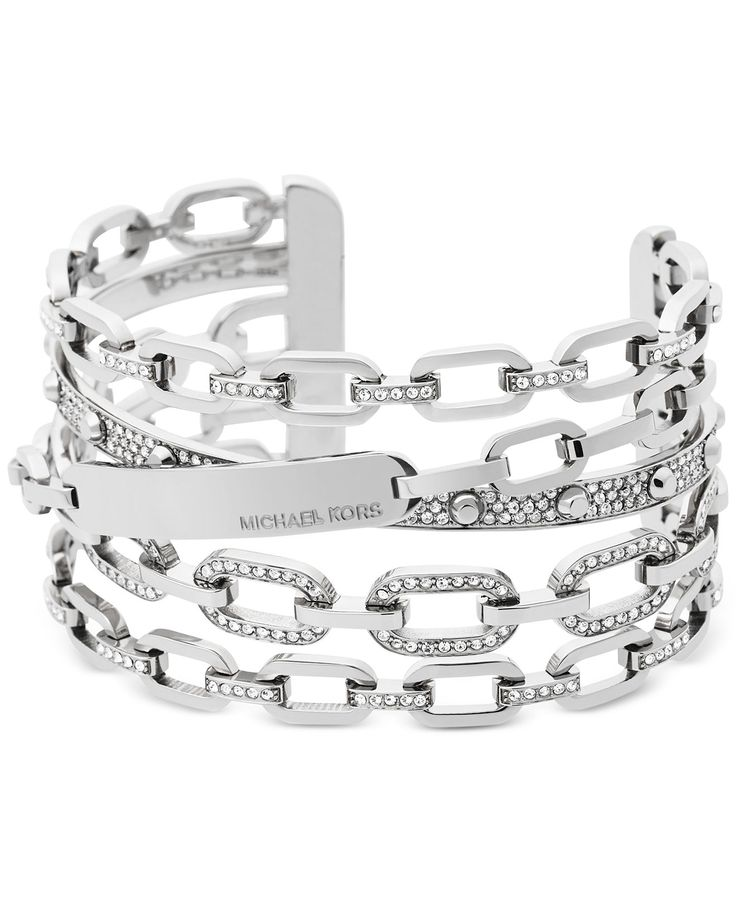 Michael Kors Chain Link Silver-Tone Statement Cuff Bracelet - Jewelry & Watches - Macy's