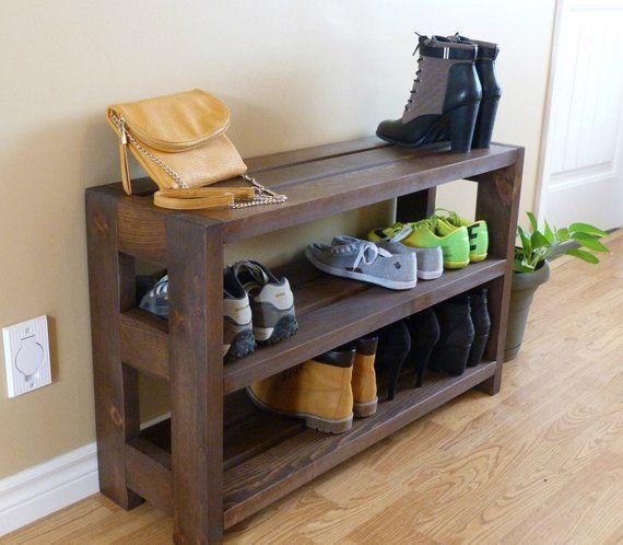 Rustic Shoe Rack 3 Levels Shoe Storage Shoe Organizer Shoe