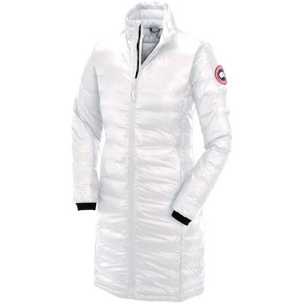 Ladies that live at high latitudes and elevated altitudes turn to the Canada Goose Women's Camp Down Coat for stylish warmth. This longer coat's lightweight, compressible shell is packed with 750-fill premium Canadian Hutterite down for unbeatable coziness when the wind picks up and the flurries begin to fly.