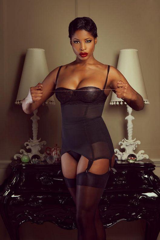 Ebony girl in lingerie, sexy black woman fucked hard