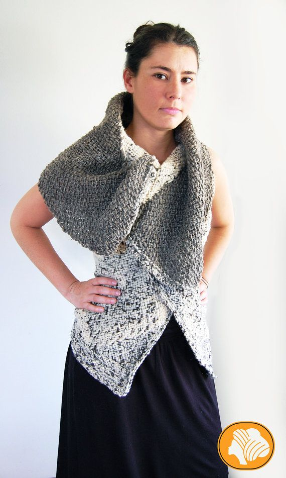 Natural flecked hooded wrap vest by Ullvuna on Etsy, $140.00