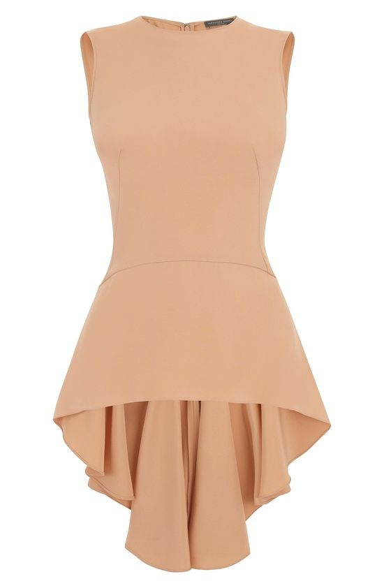 Alexander McQueen Blush Drape Silk Peplum Top pinned with Bazaart