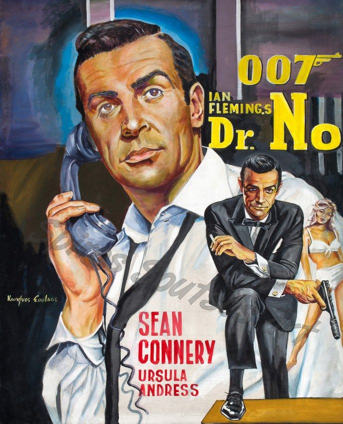 *m. Dr.No (1962), James Bond movie poster painting, Sean Connery portrait