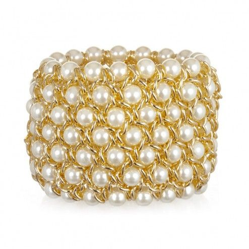 Kenneth Jay Lane Faux Pearl Stretch Bracelet