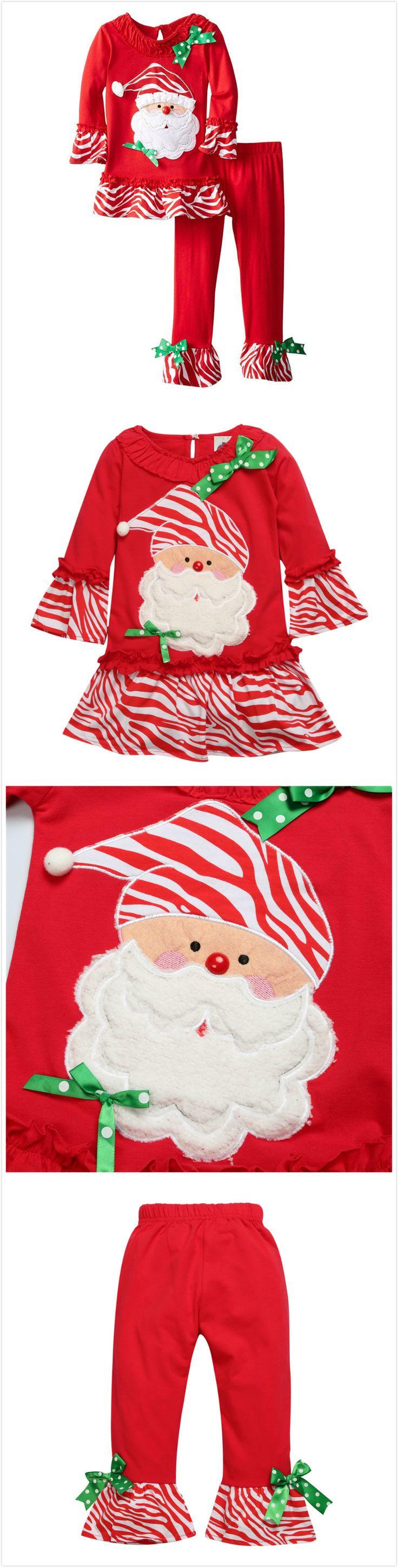 2-Pieces Baby Toddler's Girl Christmas Santa Dress & Pant Set