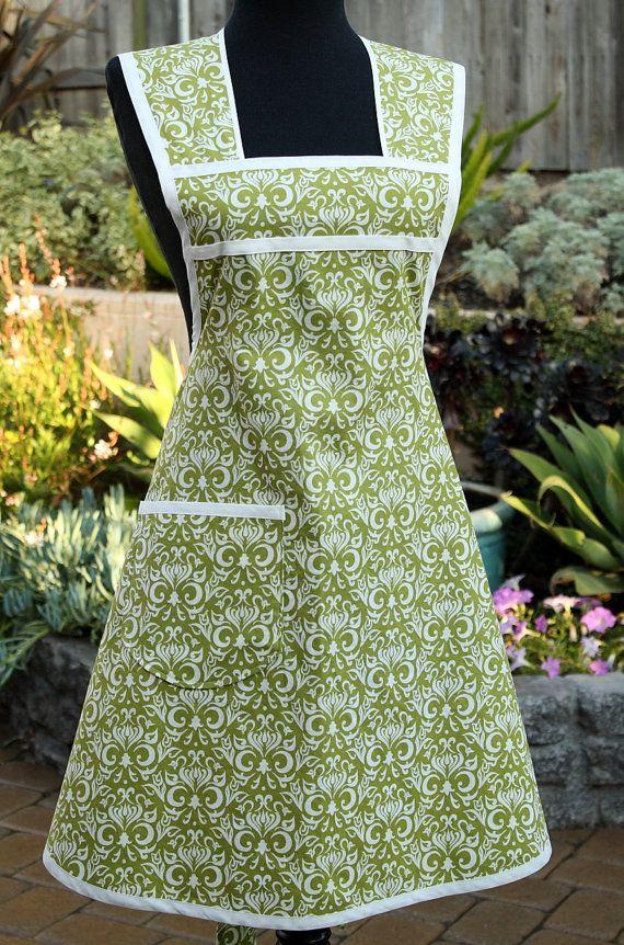 Vintage Inspired Women's Full Apron--Go Green in Dandy Damask Avocado $34.50 Etsy
