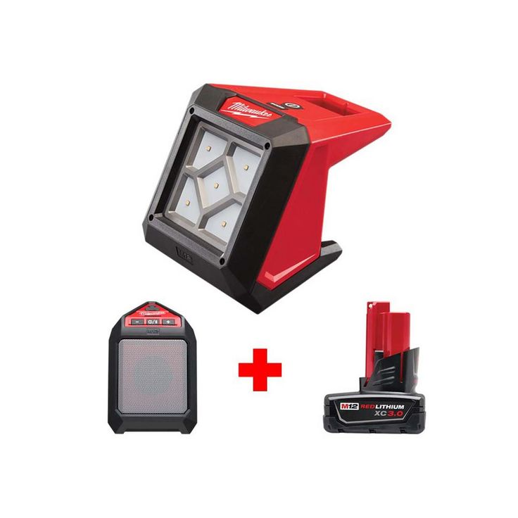 Milwaukee M12 12 Volt Lithium Ion Cordless 1000 Lumens Rover Led Compact Flood Light With M12 Jobsite Speaker Milwaukee M12 Led Lighting Solutions Flood Lights