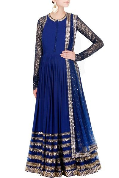 This anarkali is made in gorgette fabric in blue colour having hand embroidery on neck and sleeves. Ghera of this anarkali is also have layers of embroidery. This blue anarkali comes with a embroidere
