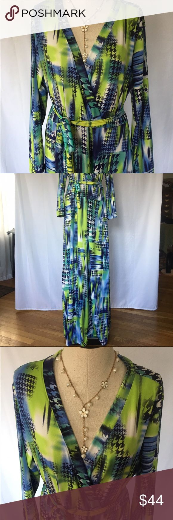 "NWOT Gorgeous Multi Colour ""V neck""  Maxi Dress. From Head To Toe- A Wonderfully Soft Acrylic Fabric Surrounds You Body- Supper Slimming!Its Divine!!  Gorgeous Maxi With Belt!     ( says 3xl= 14-16 American Dresses Maxi"