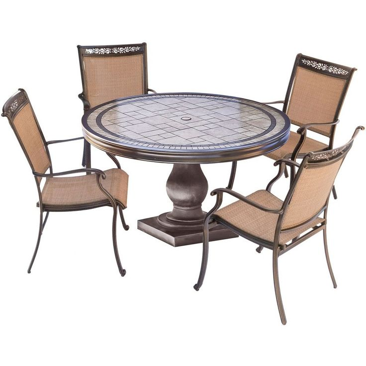"""Hanover 5pc Dining Set: 4 Sling Dining Chairs, 51"""" Round Tile Top Dining Table"""