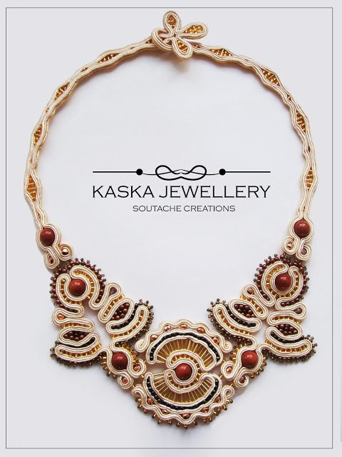 #soutache necklace embroidered by uncountable amount of glass beads