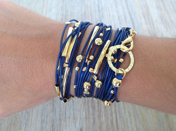 Blue and Gold Cord Wrap Bracelet / Necklace by FarfanJewelry