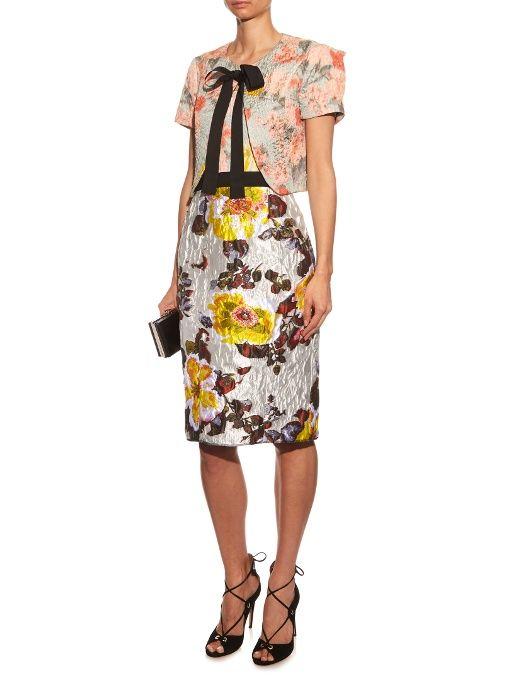 Find Oscar De La Renta Floral-jacquard Brocade Strapless Dress Only at Modalist