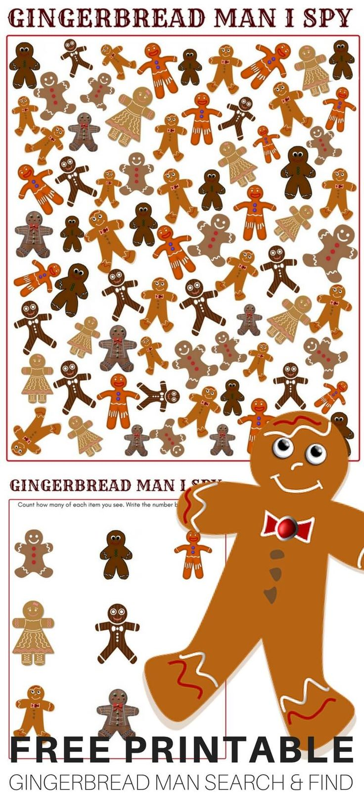 Printable Gingerbread Man Game and I Spy Printable Search and Find Game