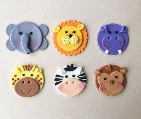 12 Jungle Animal (Safari / Zoo Themed) Fondant Cupcake Toppers