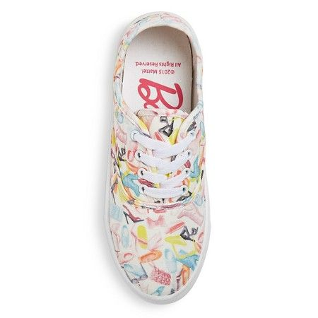 Show some love for your style icon with these Women's Barbie Shoe Print Canvas Sneakers. With a durable construction and darling character details, these shoes are a sweet spin on a sporty design.