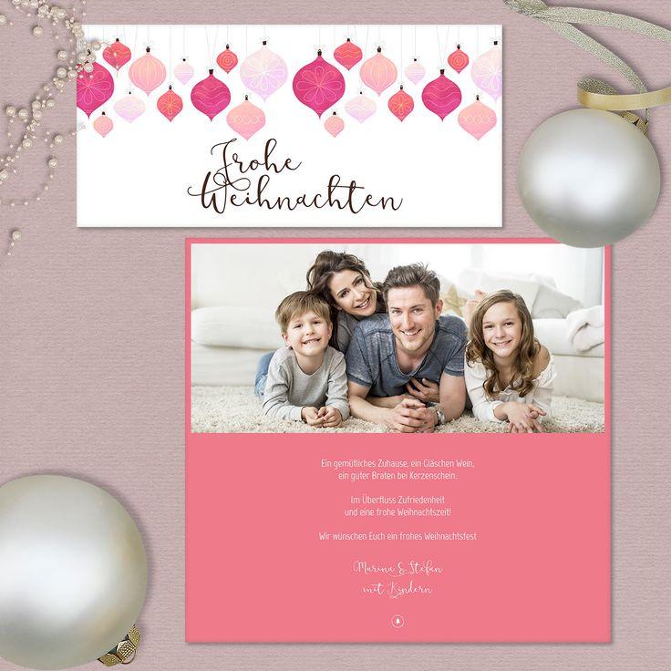 """Eine farbenfrohe Weihnachtszeit wünscht unsere Karte """"Festlich"""" zum Jahresende - hier online gestalten und drucken lassen."""