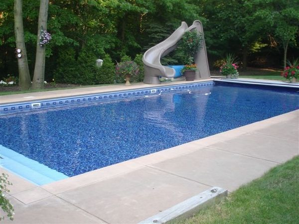 Rectangular pool with slide google search ideas for Above ground pool decks tulsa