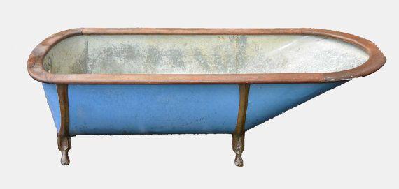 blue tin bathtub with oak rim c1890 tins blue and etsy. Black Bedroom Furniture Sets. Home Design Ideas