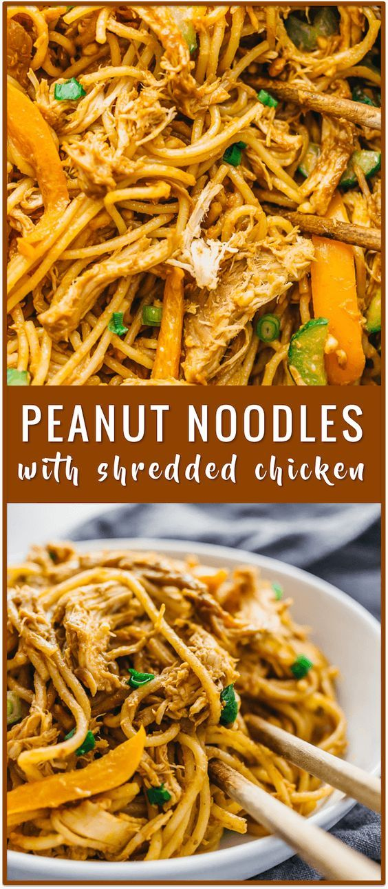 Spicy peanut noodles with shredded chicken recipe, Thai peanut sauce noodles, se…