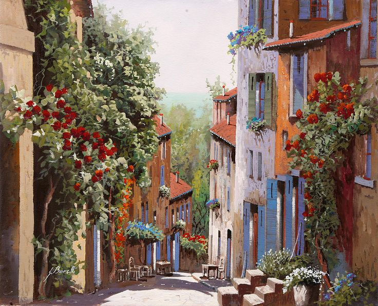 vecchia Cagnes Painting by Guido Borelli