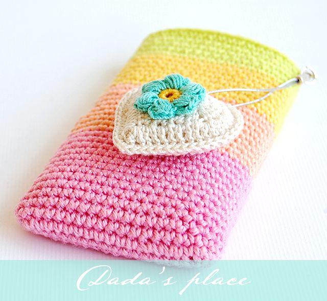 Arco iris bolsa de teléfono ganchillo