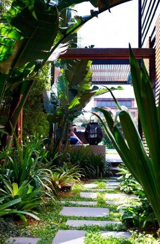 lush plants between pathway garden design idea
