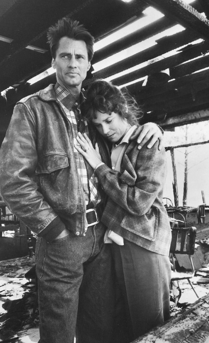 """Scene from """"The Right Stuff"""" - Sam Shepard, Barbara Hershey - Chuck Yeager: I'm a fearless man, but I'm scared to death of you. Glennis Yeager: Oh no you're not. But you oughta be."""