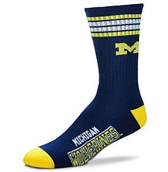 For Bare Feet NCAA® Michigan Wolverines Men's 4-Stripe Deuce Crew Socks