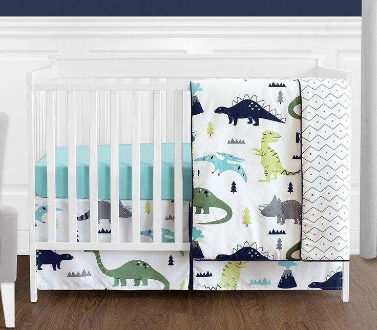 Navy Blue and Green Modern Dinosaur Baby Boys or Girls 4 Piece Crib Bedding Set | Baby, Nursery Bedding, Nursery Bedding Sets | eBay!