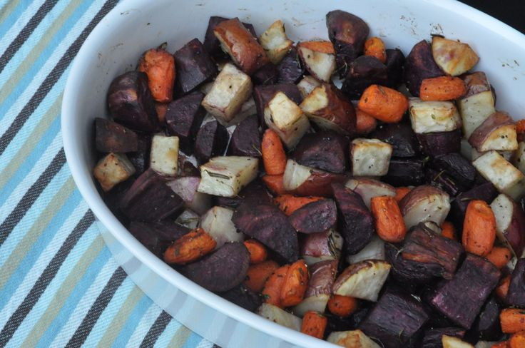 Roasted Root Vegetables   Classic  autumn root vegetables of purple sweet potatoes, red potatoes and carrots roasted with fresh rosemary and thyme.